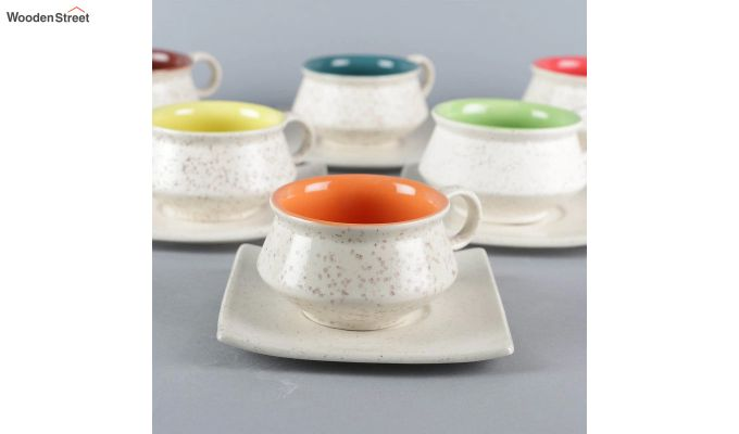 Stoneware White 150 ML Cups & Saucers Set of 6-4
