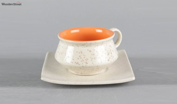 Stoneware White 150 ML Cups & Saucers Set of 6-5