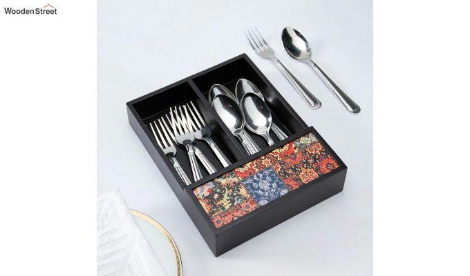 Black Multipurpose Wooden Cutlery Holder-1