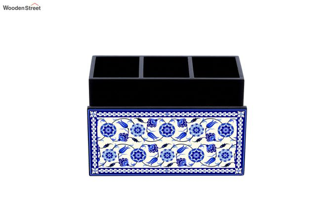 Blue and White MDF Wood Cutlery Holder-2