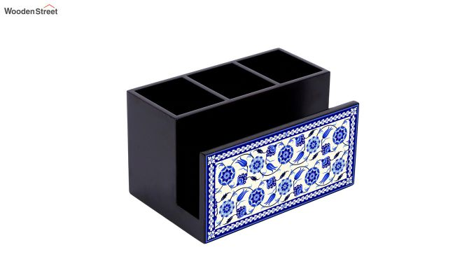 Blue and White MDF Wood Cutlery Holder-3