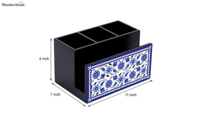 Blue and White MDF Wood Cutlery Holder-6