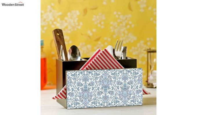Blue MDF Wood Cutlery Holder-1