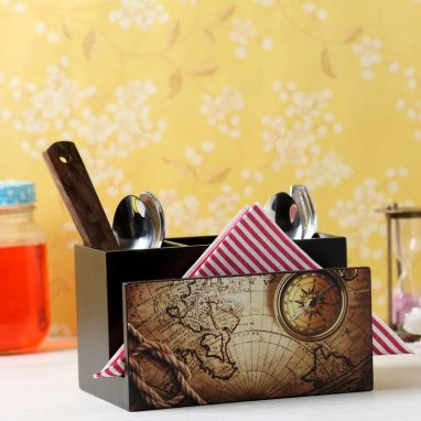 Brown MDF Wood Cutlery Holder