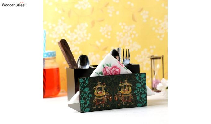 Green and Black MDF Wood Cutlery Holder-1