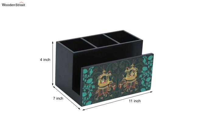 Green and Black MDF Wood Cutlery Holder-6