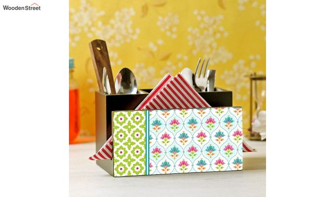 Green and White MDF Wood Cutlery Holder-1