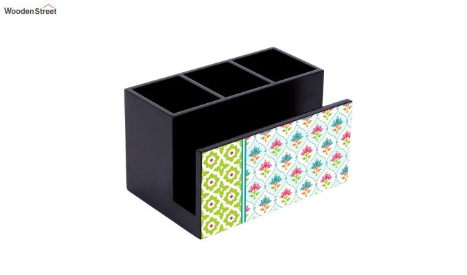Green and White MDF Wood Cutlery Holder-3