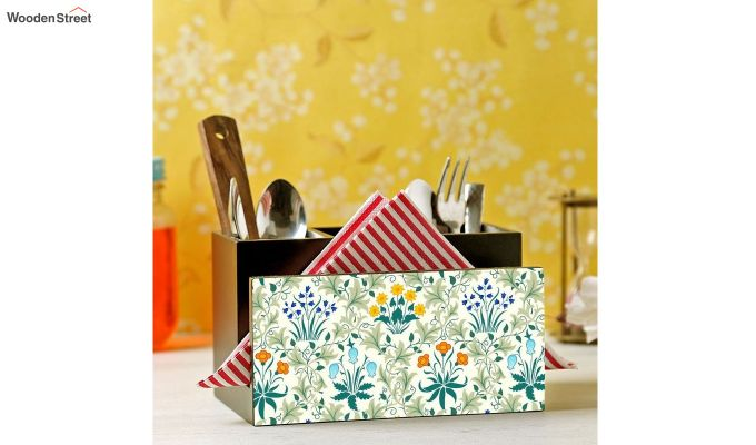 Green and Yellow MDF Wood Cutlery Holder-1