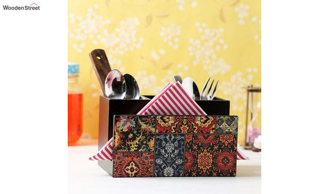 Red and Black MDF Wood Cutlery Holder-1