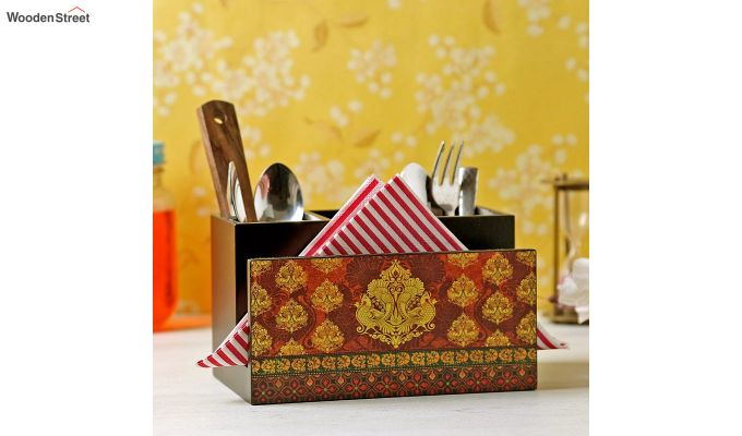 Red MDF Wood Cutlery Holder-1