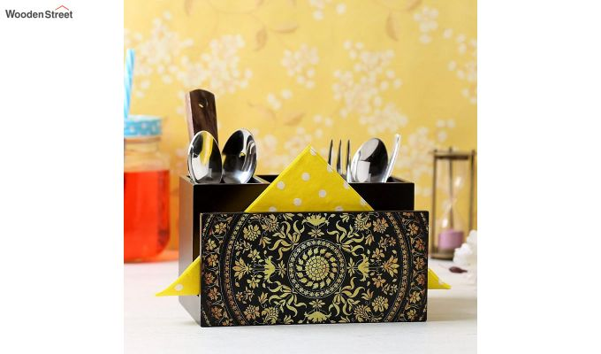 Yellow and Black MDF Wood Cutlery Holder-1