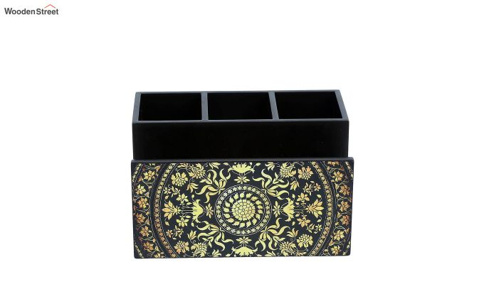 Yellow and Black MDF Wood Cutlery Holder-2