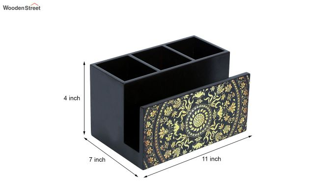 Yellow and Black MDF Wood Cutlery Holder-6