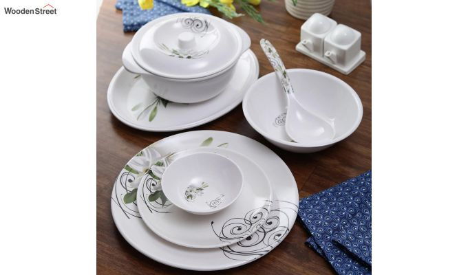 Melamine Green Olives Print Dinner Set - 33 Pieces-1