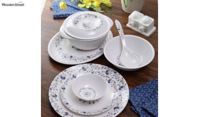 Melamine White Blue D Core Dinner Set - 33 Pieces-1