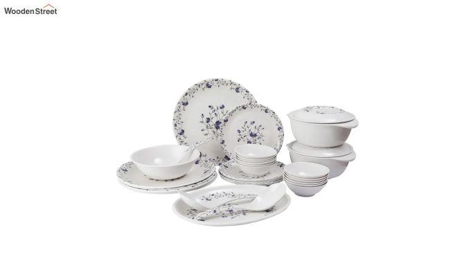 Melamine White Blue D Core Dinner Set - 33 Pieces-2