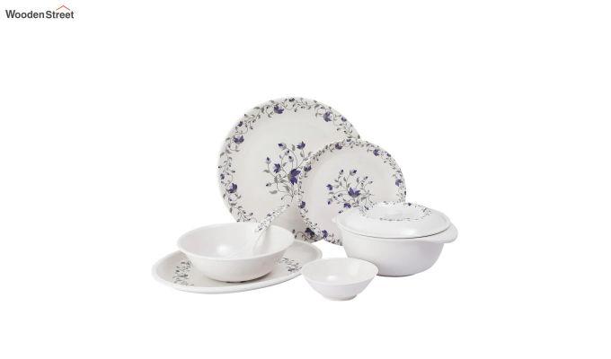 Melamine White Blue D Core Dinner Set - 33 Pieces-3