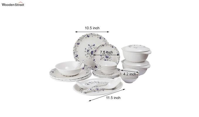 Melamine White Blue D Core Dinner Set - 33 Pieces-5