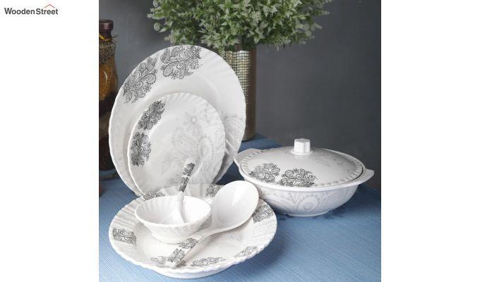 Melamine White Grey Floral Print Dinner Set - 40 Pieces-1