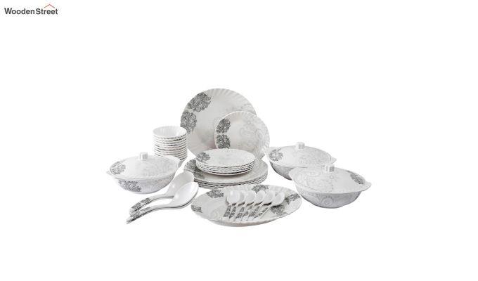 Melamine White Grey Floral Print Dinner Set - 40 Pieces-2
