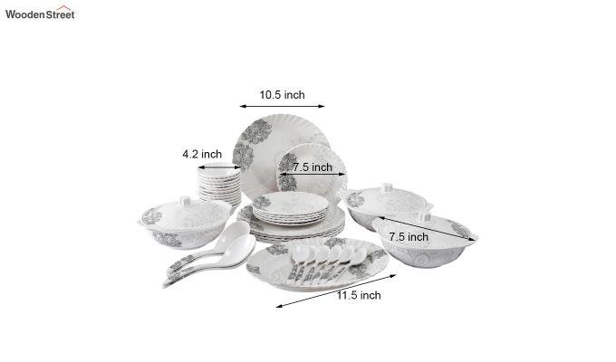 Melamine White Grey Floral Print Dinner Set - 40 Pieces-4