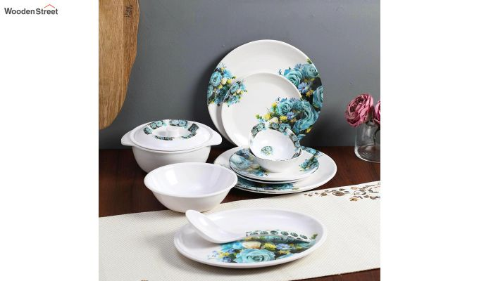 Melamine White with Blue & Yellow Rose Print Dinner Set - 33 Pieces-1