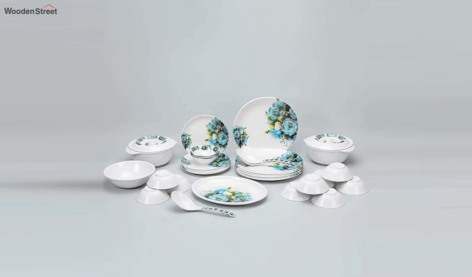 Melamine White with Blue & Yellow Rose Print Dinner Set - 33 Pieces-2