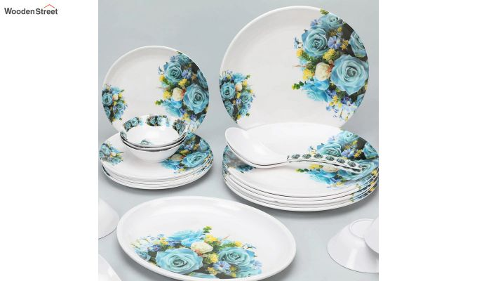 Melamine White with Blue & Yellow Rose Print Dinner Set - 33 Pieces-3