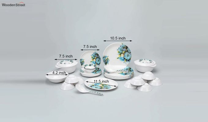 Melamine White with Blue & Yellow Rose Print Dinner Set - 33 Pieces-4
