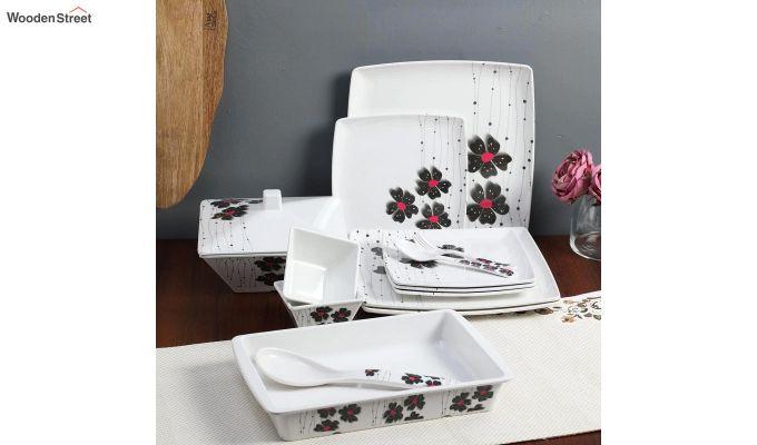 Melamine White with Llily Print Dinner Set - 46 Pieces-1