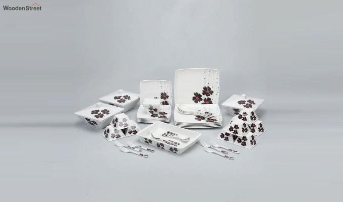 Melamine White with Llily Print Dinner Set - 46 Pieces-2