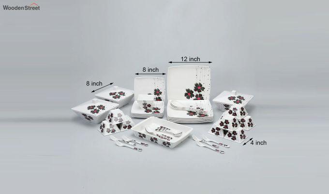 Melamine White with Llily Print Dinner Set - 46 Pieces-3