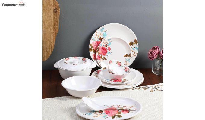 Melamine White with Multi Flower Print Dinner Set - 33 Pieces-1