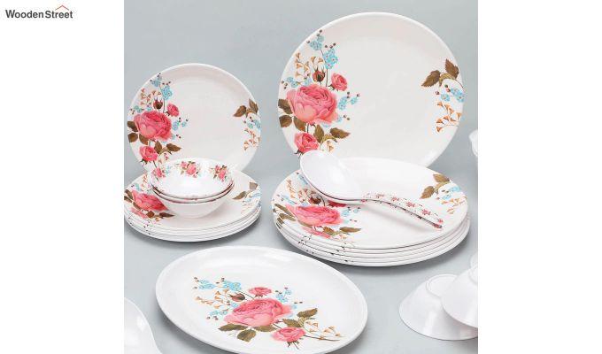Melamine White with Multi Flower Print Dinner Set - 33 Pieces-3