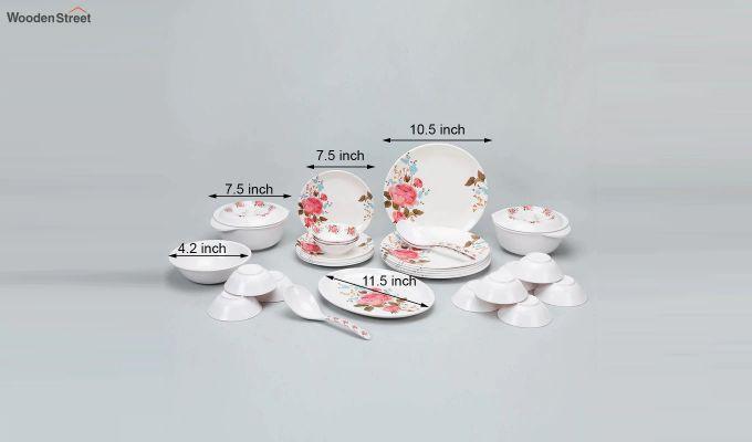 Melamine White with Multi Flower Print Dinner Set - 33 Pieces-4