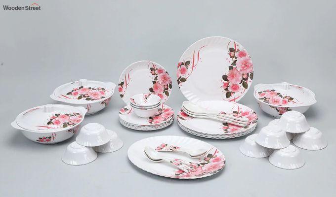 Melamine White with Rose Flower Print Dinner Set - 40 Pieces-2
