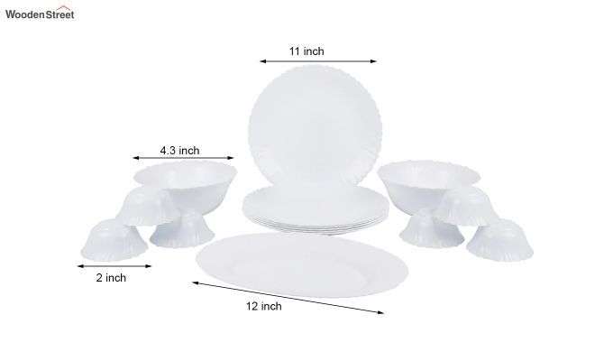 Opalware White Dinner Set - 15 Pieces-7