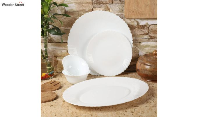 Opalware White Dinner Set - 19 Pieces-1