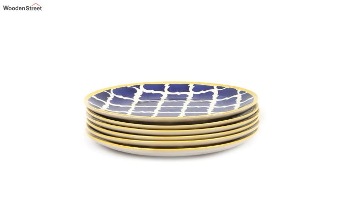 Ceramic Blue Hand Crafted Full Dinner Plates - Set of 6-2