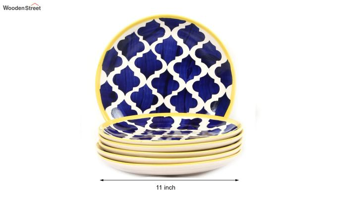 Ceramic Blue Hand Crafted Full Dinner Plates - Set of 6-4