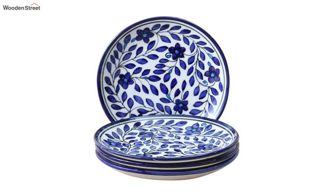 Ceramic Blue Spring Quarter Plates - Set of 4-3