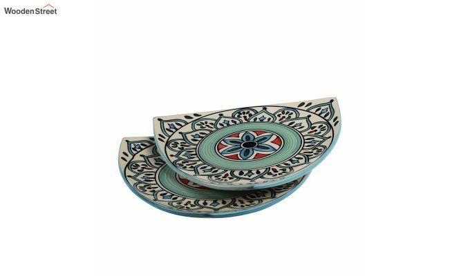 Ceramic Blue Triangle Breakfast Plates - Set of 2-3