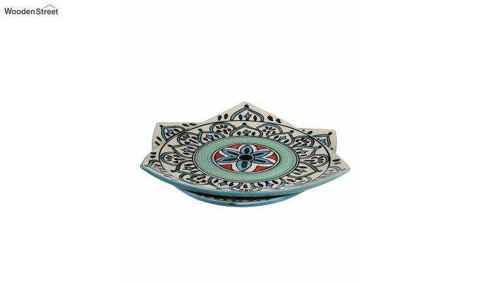 Ceramic Blue Triangle Breakfast Plates - Set of 2-4