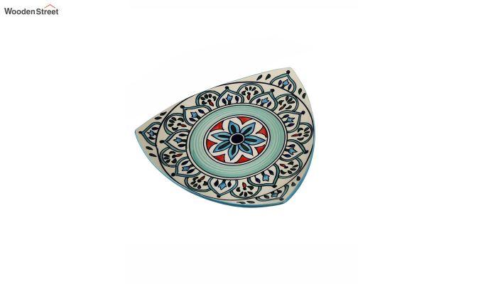 Ceramic Blue Triangle Breakfast Plates - Set of 2-5