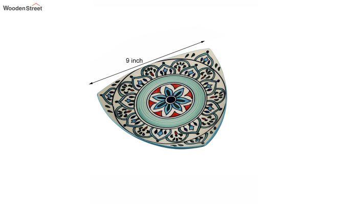 Ceramic Blue Triangle Breakfast Plates - Set of 2-6