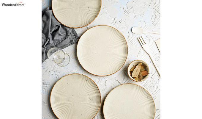 Ceramic Handcrafted Cream Dinner Plates - Set of 4-1