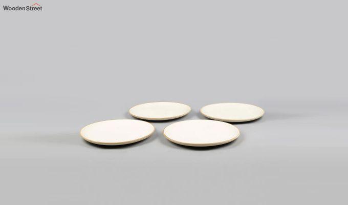 Ceramic Handcrafted Cream Dinner Plates - Set of 4-2