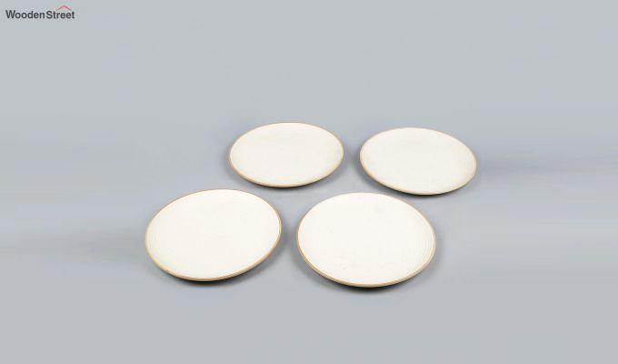 Ceramic Handcrafted Cream Dinner Plates - Set of 4-3
