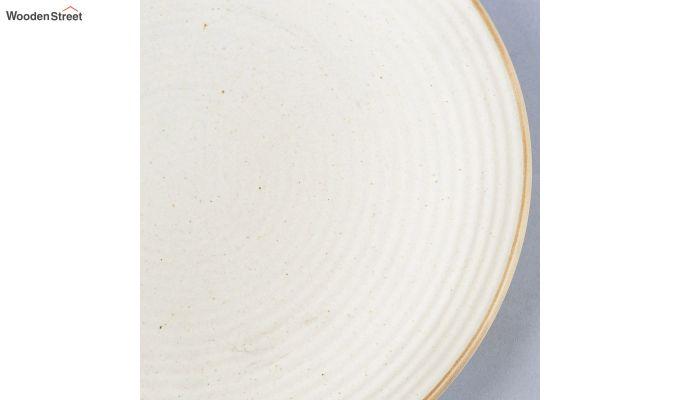 Ceramic Handcrafted Cream Dinner Plates - Set of 4-4